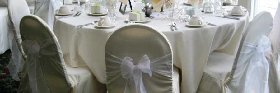 Ivory Chair cover with white sash